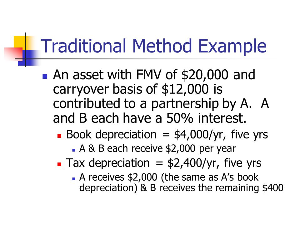 Traditional Method Example An asset with FMV of $20,000 and carryover basis of $12,000 is contributed to a partnership by A.