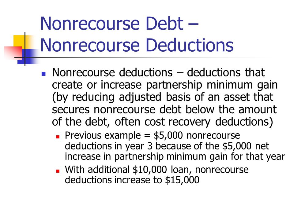 Nonrecourse Debt – Nonrecourse Deductions Nonrecourse deductions – deductions that create or increase partnership minimum gain (by reducing adjusted basis of an asset that secures nonrecourse debt below the amount of the debt, often cost recovery deductions) Previous example = $5,000 nonrecourse deductions in year 3 because of the $5,000 net increase in partnership minimum gain for that year With additional $10,000 loan, nonrecourse deductions increase to $15,000