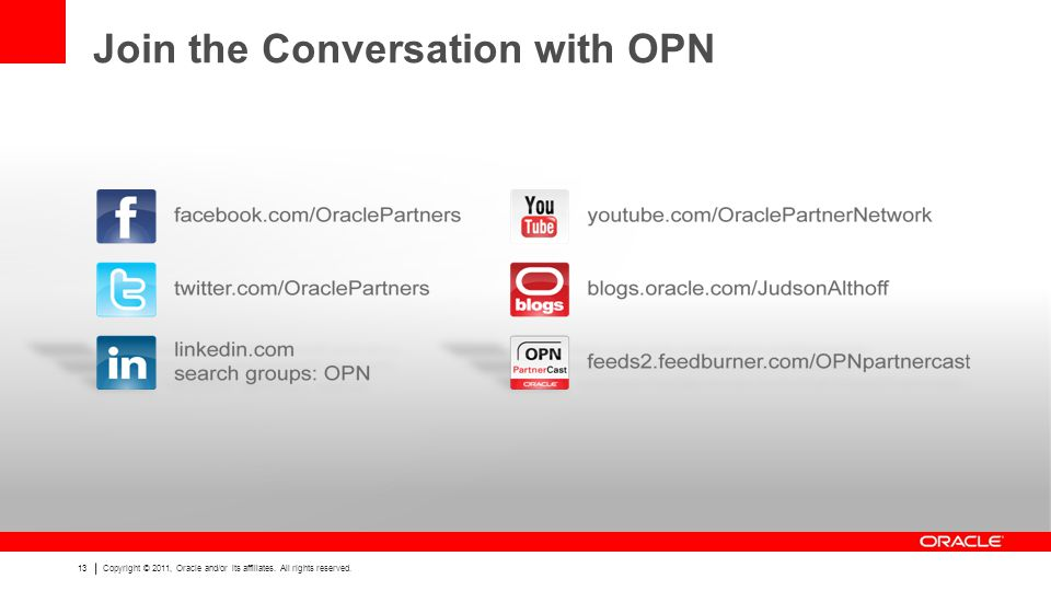 13 Copyright © 2011, Oracle and/or its affiliates.