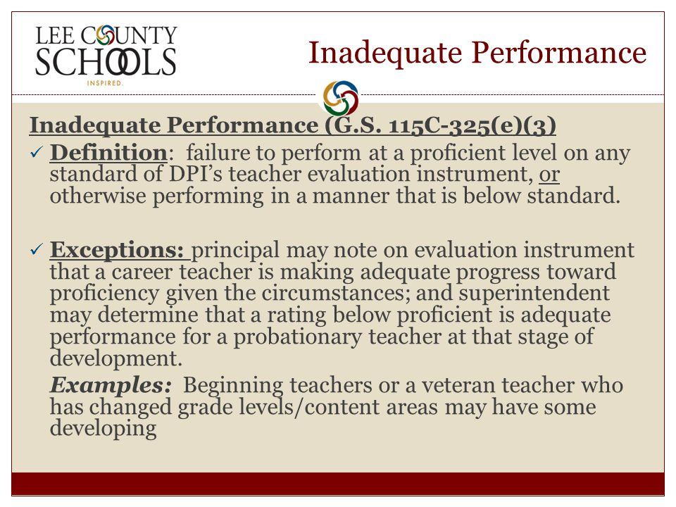 Inadequate Performance Inadequate Performance (G.S.