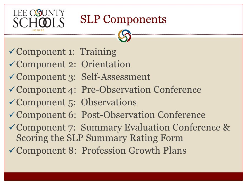 SLP Components Component 1: Training Component 2: Orientation Component 3: Self-Assessment Component 4: Pre-Observation Conference Component 5: Observations Component 6: Post-Observation Conference Component 7: Summary Evaluation Conference & Scoring the SLP Summary Rating Form Component 8: Profession Growth Plans