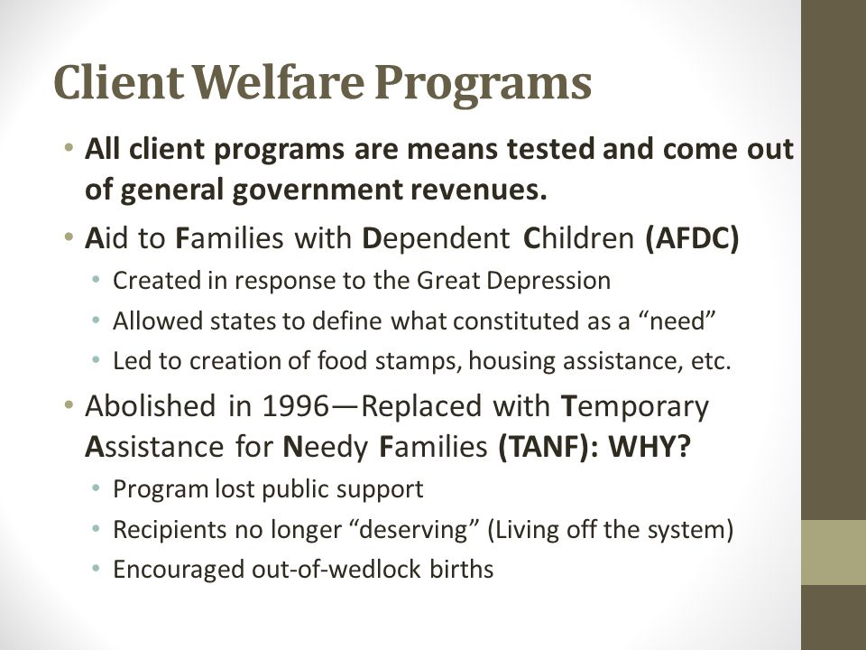 Client Welfare Programs All client programs are means tested and come out of general government revenues.
