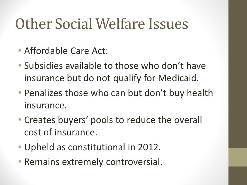 Other Social Welfare Issues Affordable Care Act: Subsidies available to those who don't have insurance but do not qualify for Medicaid.