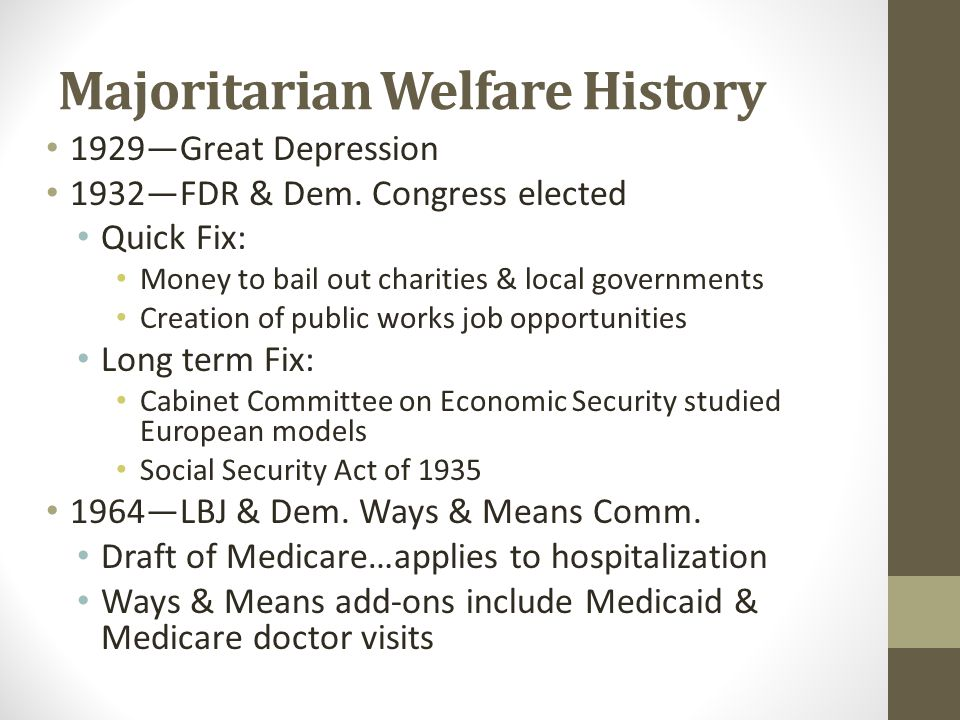 Majoritarian Welfare History 1929—Great Depression 1932—FDR & Dem.