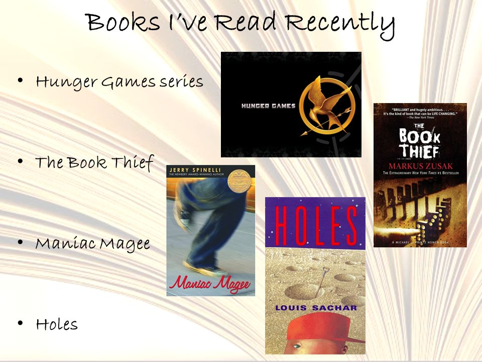 Books I've Read Recently Hunger Games series The Book Thief Maniac Magee Holes