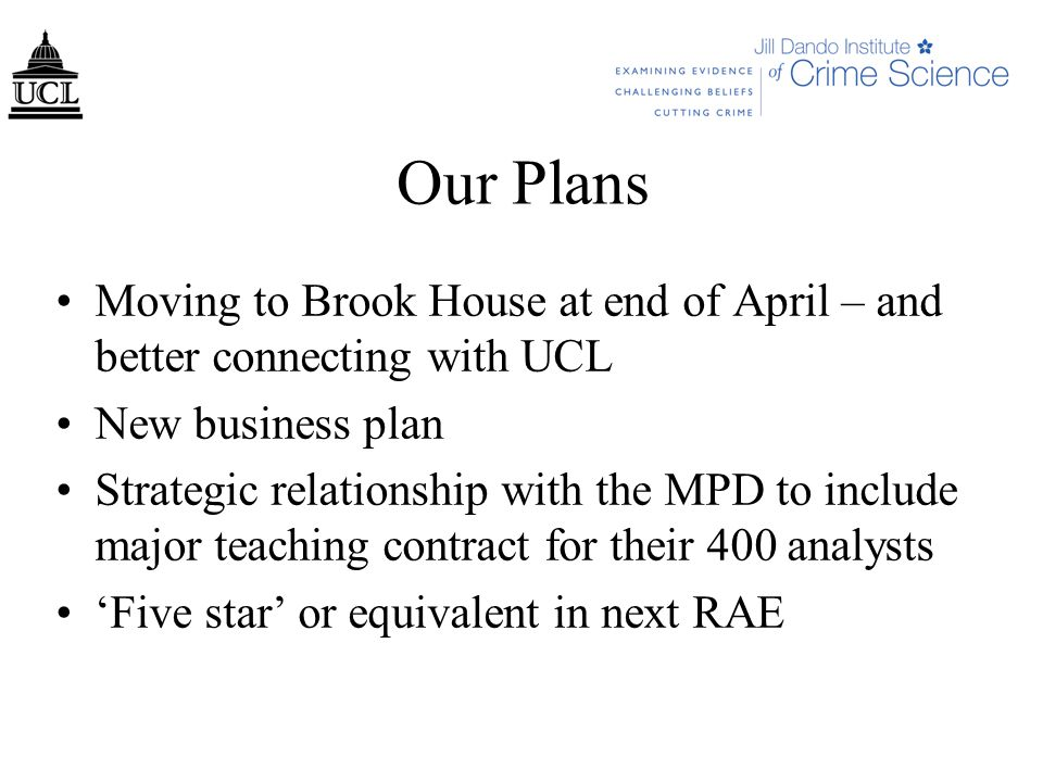 Our Plans Moving to Brook House at end of April – and better connecting with UCL New business plan Strategic relationship with the MPD to include major teaching contract for their 400 analysts 'Five star' or equivalent in next RAE