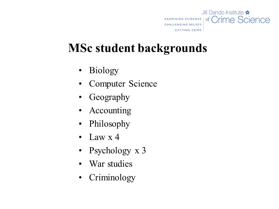 MSc student backgrounds Biology Computer Science Geography Accounting Philosophy Law x 4 Psychology x 3 War studies Criminology