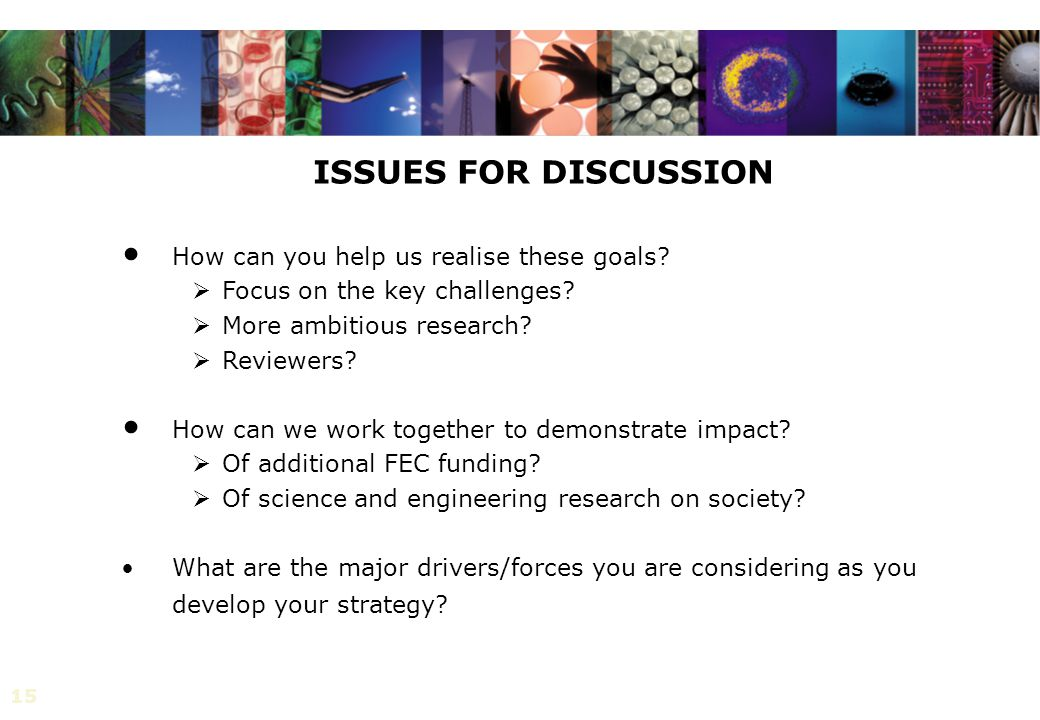 15 ISSUES FOR DISCUSSION How can you help us realise these goals.