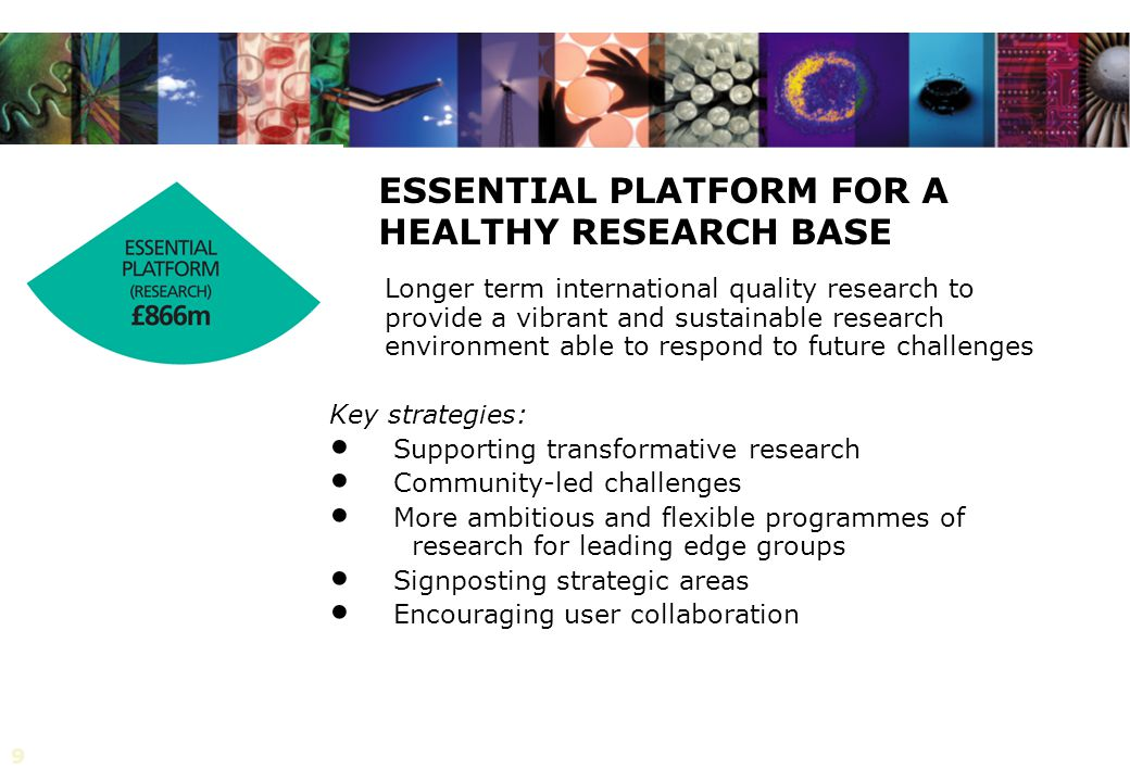 9 ESSENTIAL PLATFORM FOR A HEALTHY RESEARCH BASE Longer term international quality research to provide a vibrant and sustainable research environment able to respond to future challenges Key strategies: Supporting transformative research Community-led challenges More ambitious and flexible programmes of research for leading edge groups Signposting strategic areas Encouraging user collaboration