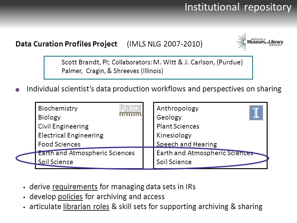 Institutional repository Data Curation Profiles Project (IMLS NLG 2007-2010) Individual scientist's data production workflows and perspectives on sharing Scott Brandt, PI; Collaborators: M.