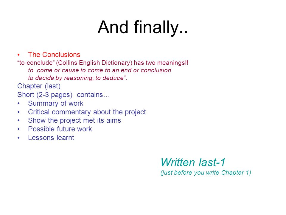 how to conclude a project