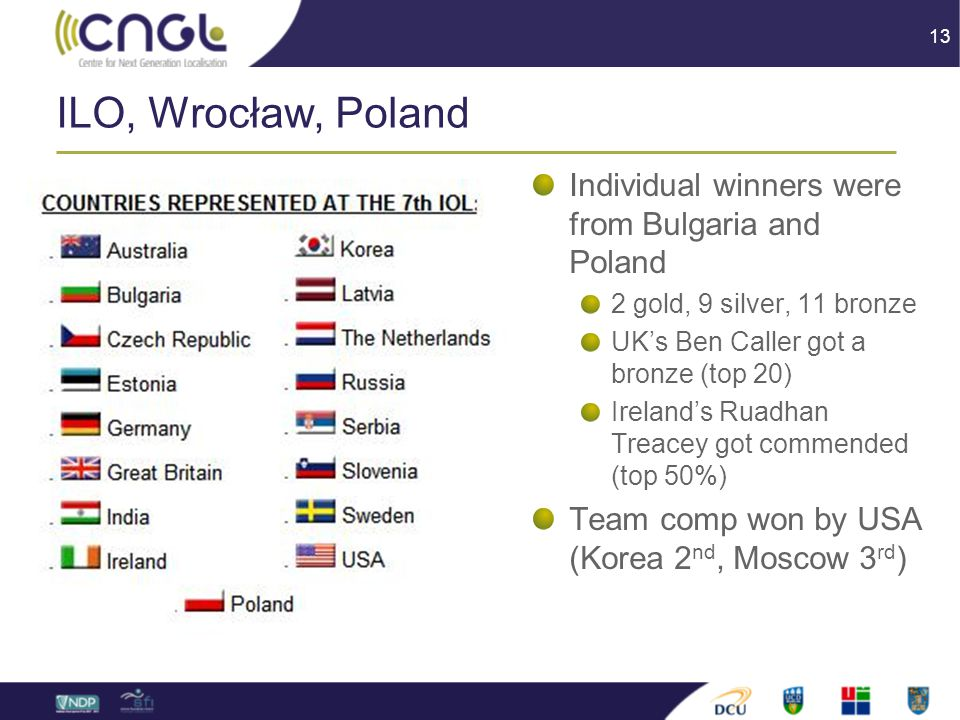 13 ILO, Wrocław, Poland Individual winners were from Bulgaria and Poland 2 gold, 9 silver, 11 bronze UK's Ben Caller got a bronze (top 20) Ireland's Ruadhan Treacey got commended (top 50%) Team comp won by USA (Korea 2 nd, Moscow 3 rd )