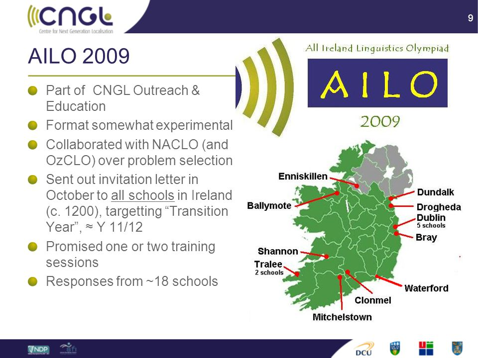 9 AILO 2009 Part of CNGL Outreach & Education Format somewhat experimental Collaborated with NACLO (and OzCLO) over problem selection Sent out invitation letter in October to all schools in Ireland (c.