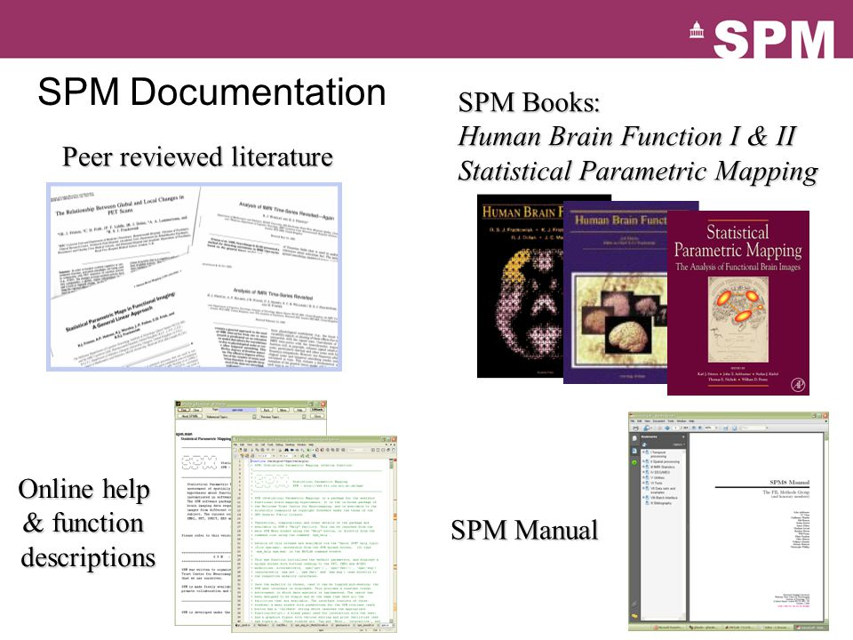 SPM Documentation Peer reviewed literature SPM Books: Human Brain Function I & II Statistical Parametric Mapping Online help & function descriptions SPM Manual