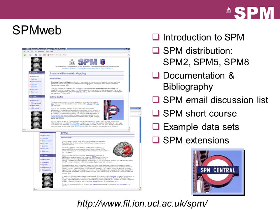 SPMweb  Introduction to SPM  SPM distribution: SPM2, SPM5, SPM8  Documentation & Bibliography  SPM email discussion list  SPM short course  Example data sets  SPM extensions http://www.fil.ion.ucl.ac.uk/spm/