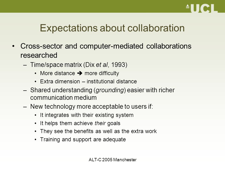 ALT-C 2005 Manchester Expectations about collaboration Cross-sector and computer-mediated collaborations researched –Time/space matrix (Dix et al, 1993) More distance  more difficulty Extra dimension – institutional distance –Shared understanding (grounding) easier with richer communication medium –New technology more acceptable to users if: It integrates with their existing system It helps them achieve their goals They see the benefits as well as the extra work Training and support are adequate