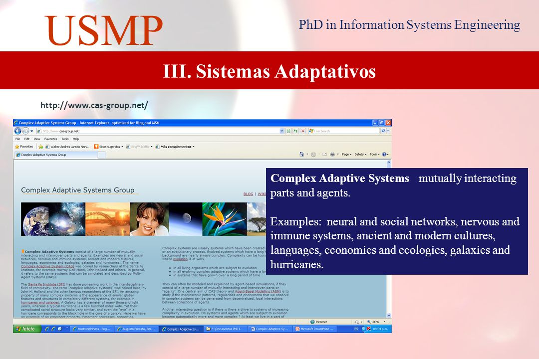 17 USMP PhD in Information Systems Engineering Adaptive systems are today commonly used in finance, industry, consumer products, medicine, science and software detection.