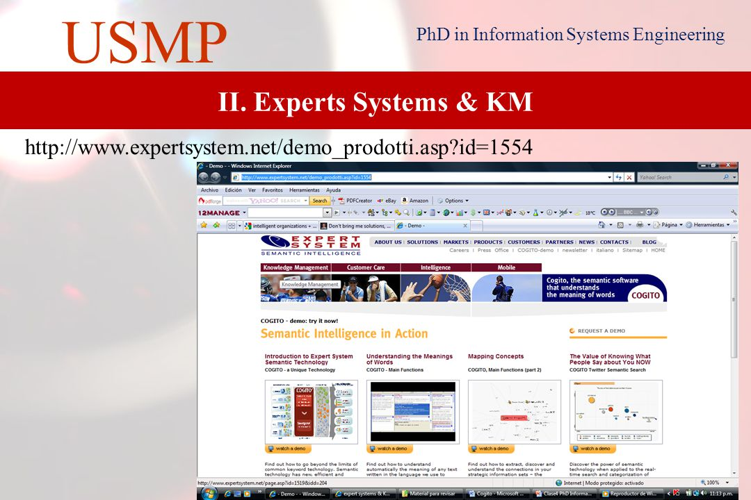 6 USMP PhD in Information Systems Engineering I. Intelligent Organizations