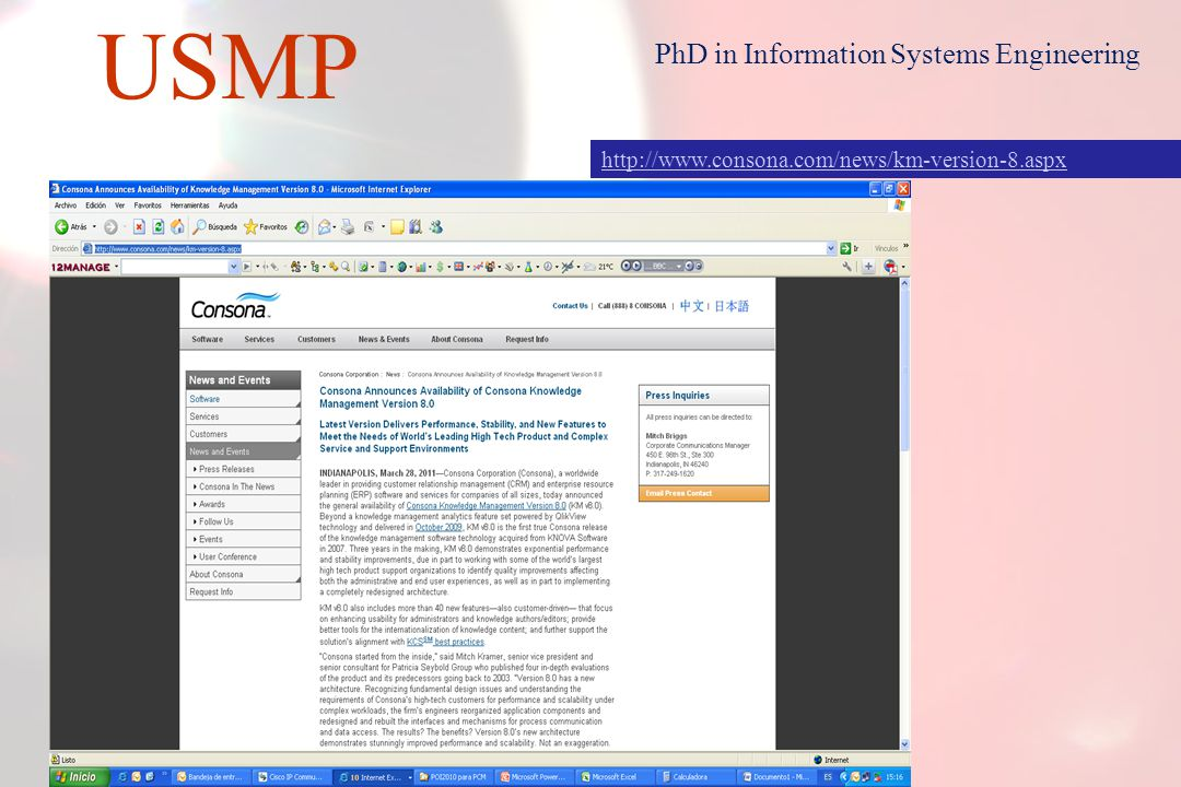 27 USMP PhD in Information Systems Engineering Some web pages to review: Journal of Information & Knowledge Management (JIKM) http://www.worldscinet.com/jikm/jikm.shtml http://www.igi-global.com/bookstore/article.aspx titleid=2717