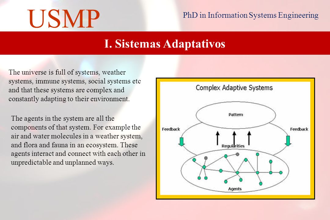2 USMP PhD in Information Systems Engineering 2 I.Adaptative SystemsAdaptative Systems II.Organizational CultureOrganizational Culture III.KM Life CycleKM Life Cycle IV.KMClusterKMCluster V.KM ProjectKM Project CONTENT Market