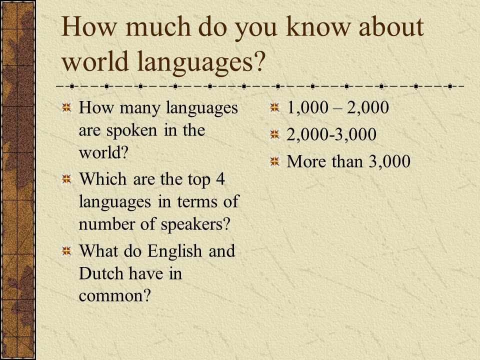 How much do you know about world languages. How many languages are spoken in the world.