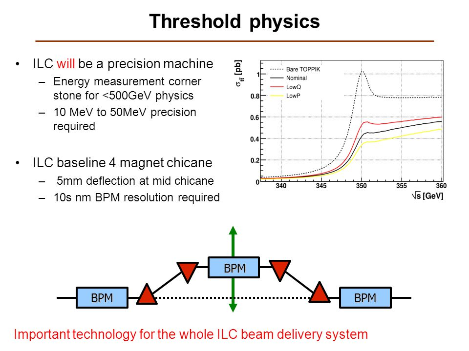 Threshold physics ILC will be a precision machine –Energy measurement corner stone for <500GeV physics –10 MeV to 50MeV precision required ILC baseline 4 magnet chicane – 5mm deflection at mid chicane –10s nm BPM resolution required BPM BPM BPM Important technology for the whole ILC beam delivery system