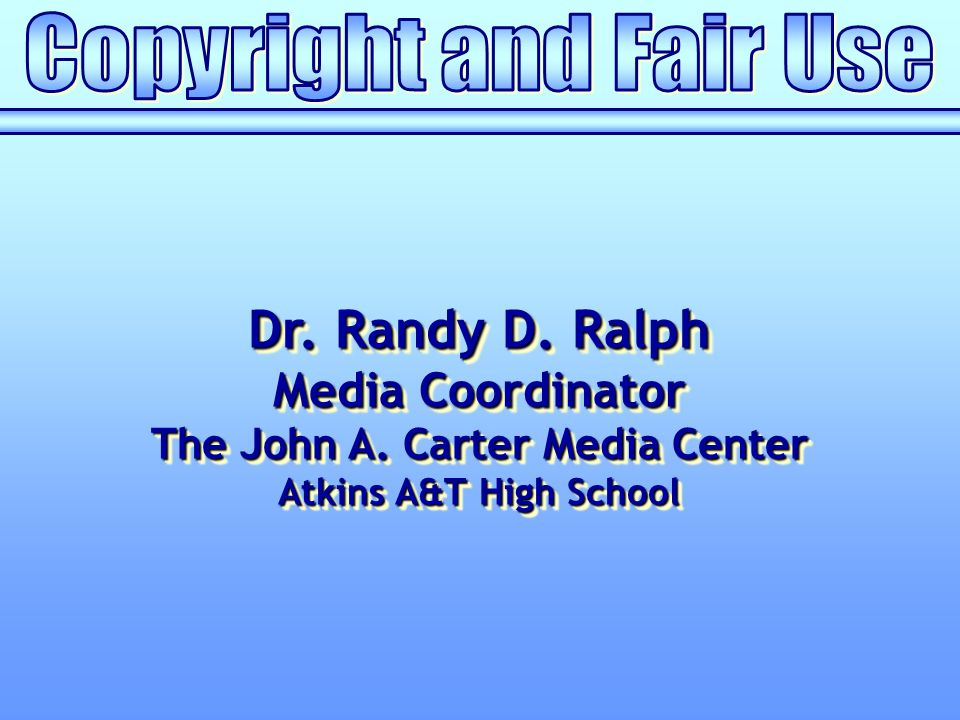Dr. Randy D. Ralph Media Coordinator The John A.