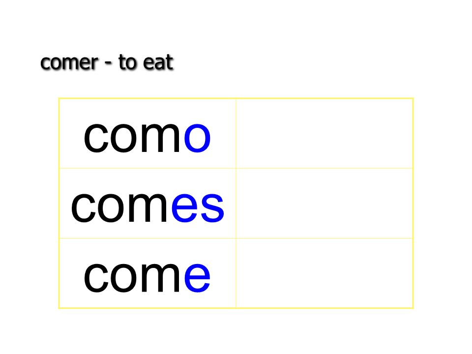 comer - to eat como comes come