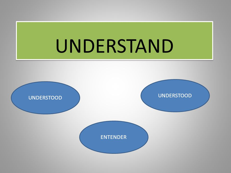 UNDERSTAND UNDERSTOOD ENTENDER
