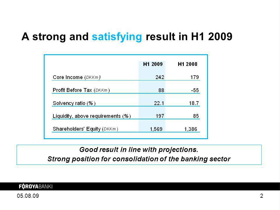 A strong and satisfying result in H1 2009 Good result in line with projections.