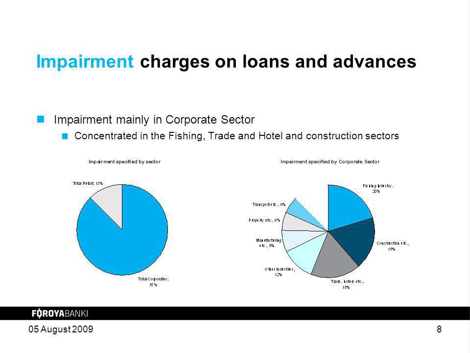 Impairment charges on loans and advances Impairment mainly in Corporate Sector  Concentrated in the Fishing, Trade and Hotel and construction sectors 05 August 20098