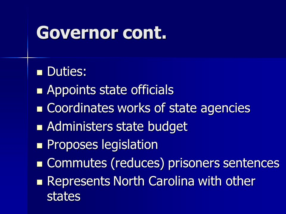 Governor cont.