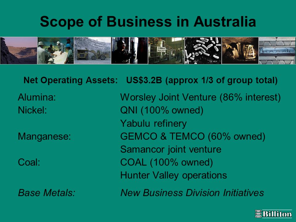 Scope of Business in Australia Net Operating Assets: US$3.2B (approx 1/3 of group total) Alumina: Worsley Joint Venture (86% interest) Nickel: QNI (100% owned) Yabulu refinery Manganese: GEMCO & TEMCO (60% owned) Samancor joint venture Coal: COAL (100% owned) Hunter Valley operations Base Metals: New Business Division Initiatives