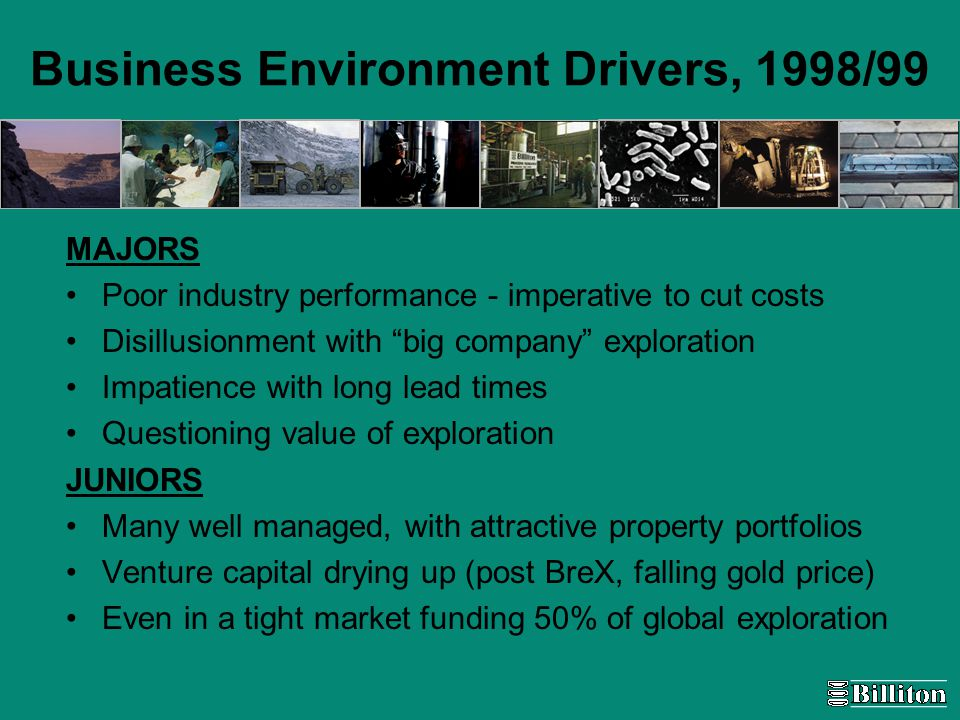 Business Environment Drivers, 1998/99 MAJORS Poor industry performance - imperative to cut costs Disillusionment with big company exploration Impatience with long lead times Questioning value of exploration JUNIORS Many well managed, with attractive property portfolios Venture capital drying up (post BreX, falling gold price) Even in a tight market funding 50% of global exploration