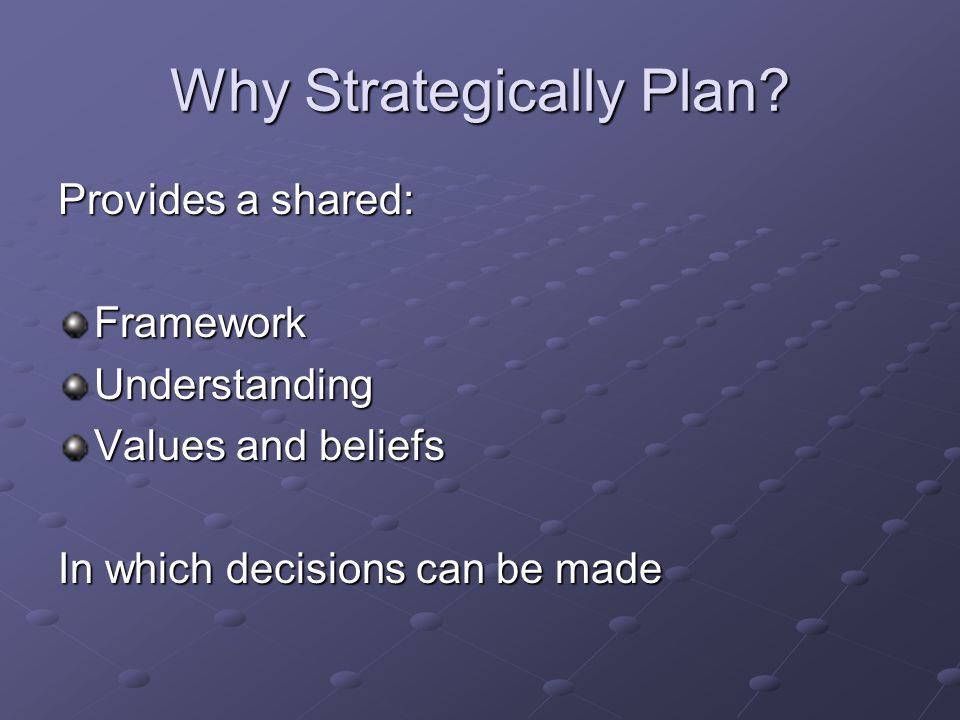 Why Strategically Plan.