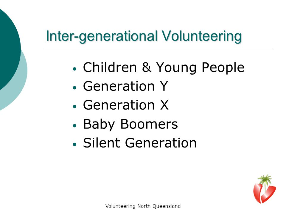 Inter-generational Volunteering Children & Young People Generation Y Generation X Baby Boomers Silent Generation