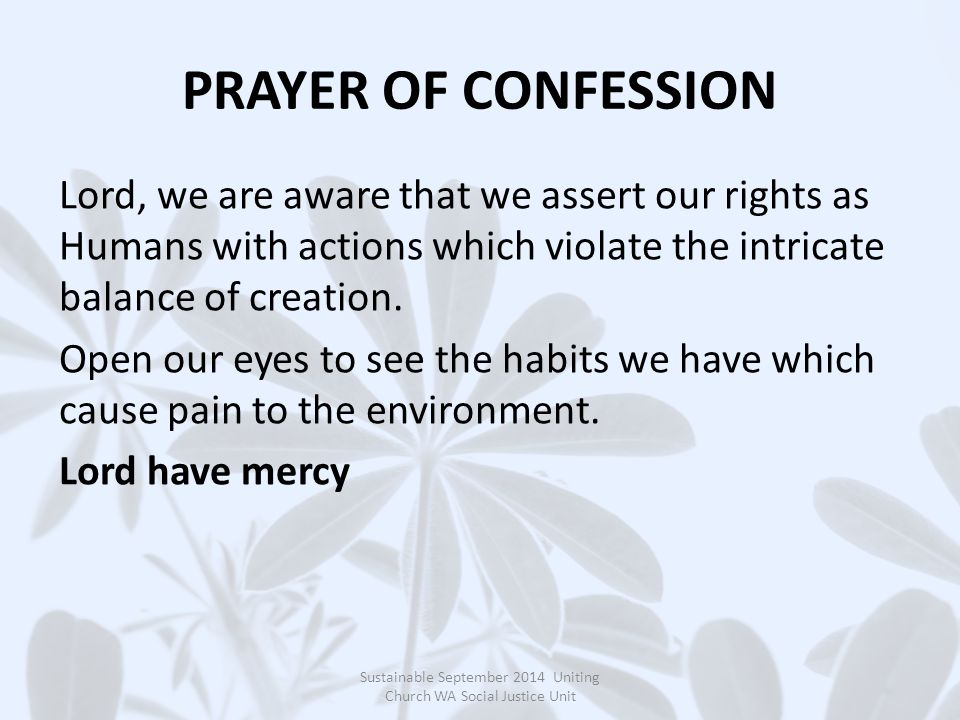 PRAYER OF CONFESSION Lord, we are aware that we assert our rights as Humans with actions which violate the intricate balance of creation.