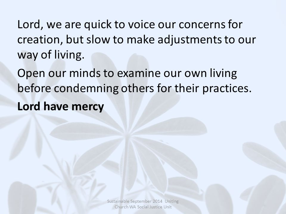 Lord, we are quick to voice our concerns for creation, but slow to make adjustments to our way of living.