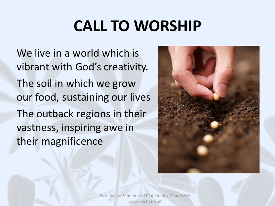 CALL TO WORSHIP We live in a world which is vibrant with God's creativity.