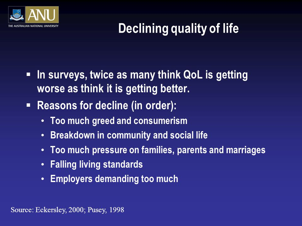 Declining quality of life  In surveys, twice as many think QoL is getting worse as think it is getting better.
