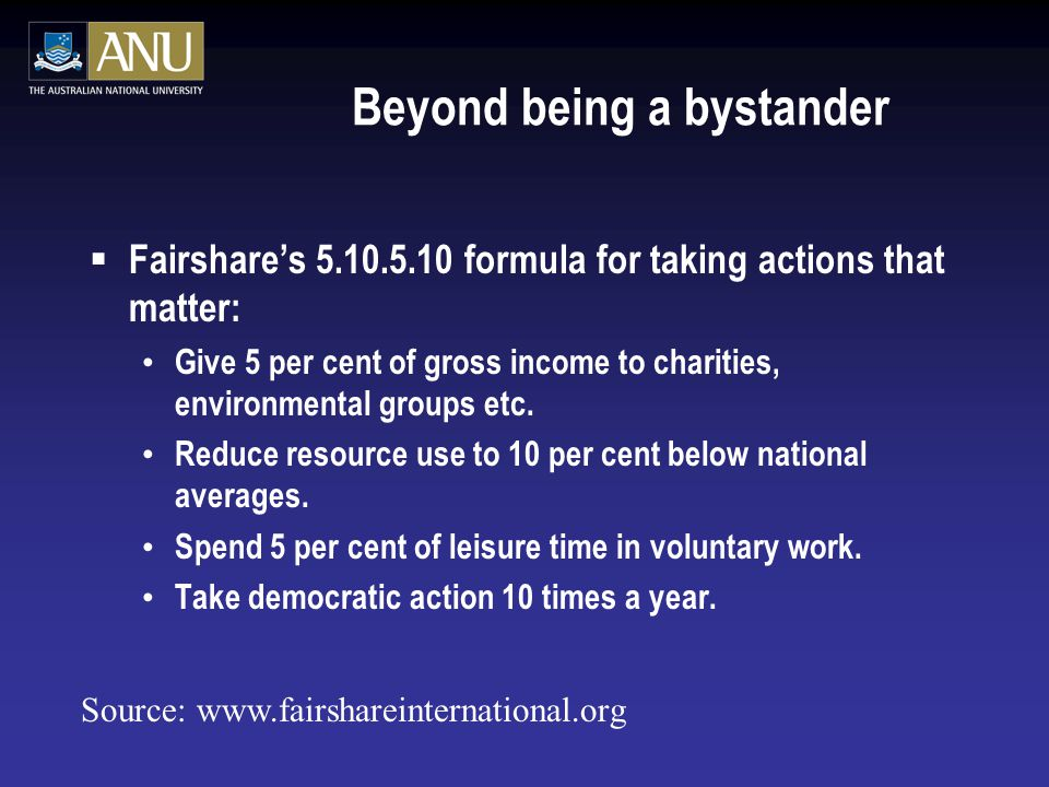 Beyond being a bystander  Fairshare's 5.10.5.10 formula for taking actions that matter: Give 5 per cent of gross income to charities, environmental groups etc.