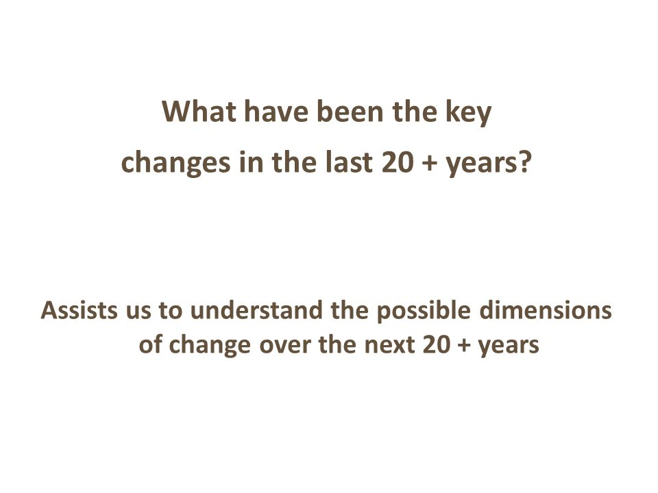 What have been the key changes in the last 20 + years.