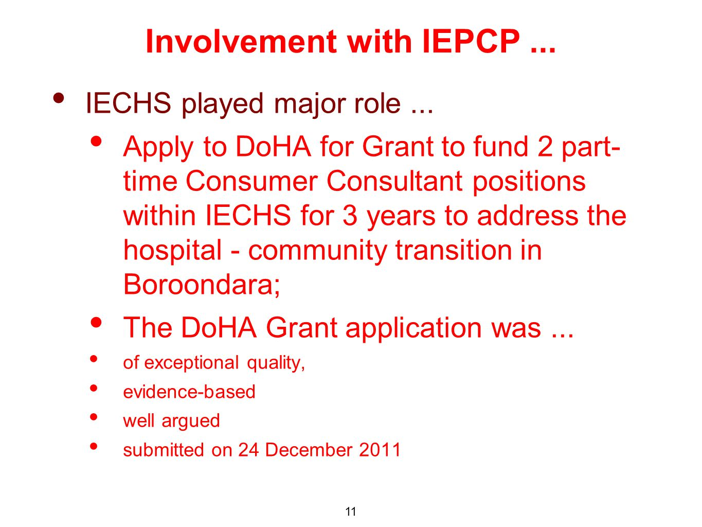 IECHS played major role...
