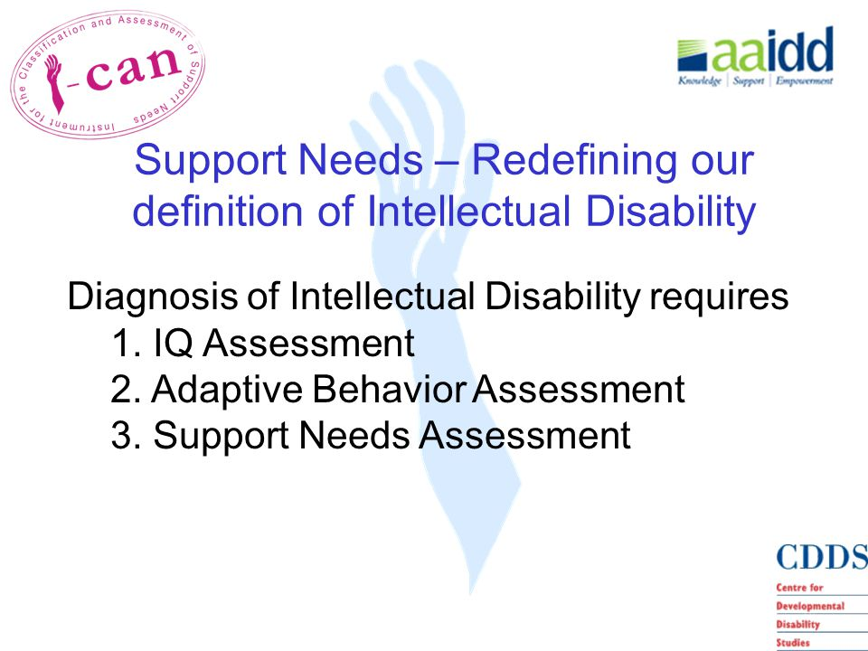 Diagnosis of Intellectual Disability requires 1. IQ Assessment 2.