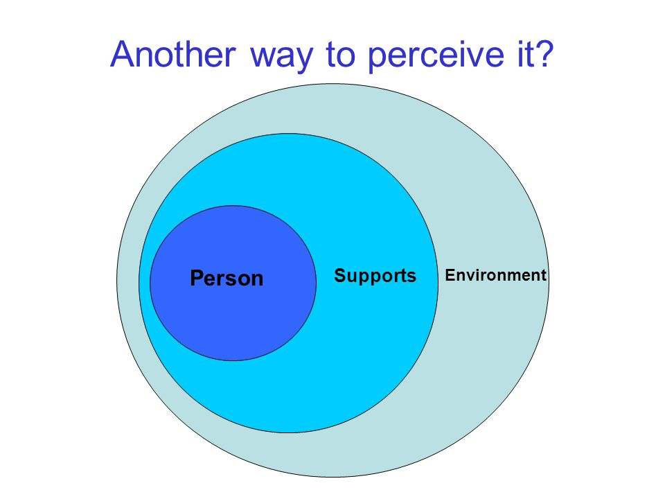 Another way to perceive it Person Supports Environment
