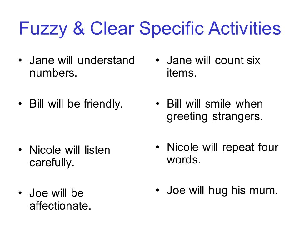 Fuzzy & Clear Specific Activities Jane will understand numbers.