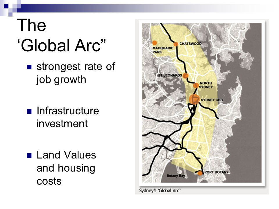 The 'Global Arc strongest rate of job growth Infrastructure investment Land Values and housing costs
