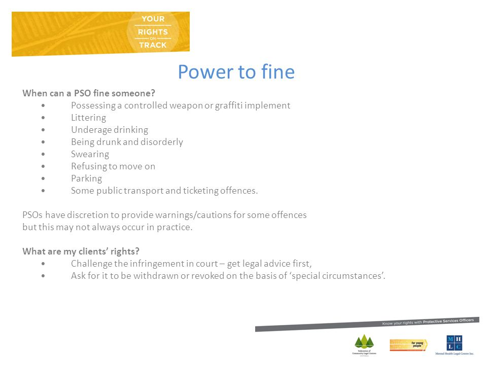 Power to fine When can a PSO fine someone.