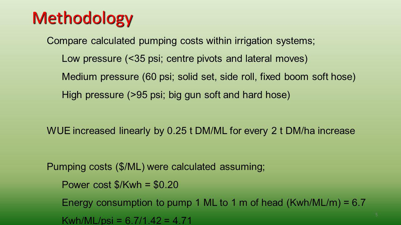 5 Methodology Compare calculated pumping costs within irrigation systems; Low pressure (<35 psi; centre pivots and lateral moves) Medium pressure (60 psi; solid set, side roll, fixed boom soft hose) High pressure (>95 psi; big gun soft and hard hose) WUE increased linearly by 0.25 t DM/ML for every 2 t DM/ha increase Pumping costs ($/ML) were calculated assuming; Power cost $/Kwh = $0.20 Energy consumption to pump 1 ML to 1 m of head (Kwh/ML/m) = 6.7 Kwh/ML/psi = 6.7/1.42 = 4.71