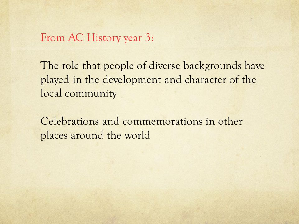 From AC History year 3: The role that people of diverse backgrounds have played in the development and character of the local community Celebrations and commemorations in other places around the world